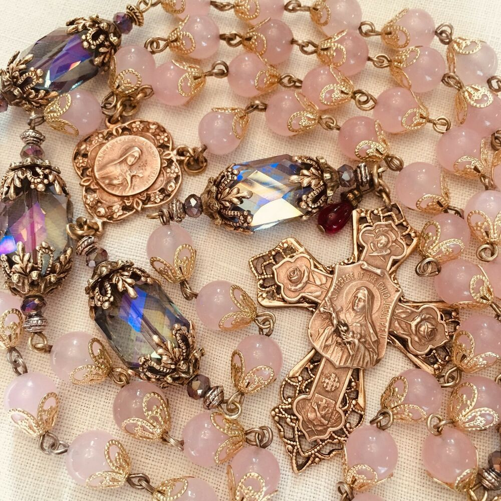 CATHOLIC ROSARY ST THERESE ROSE QUARTZ & CRYSTAL FRENCH HANDMADE BRONZE #rosaryjewelry