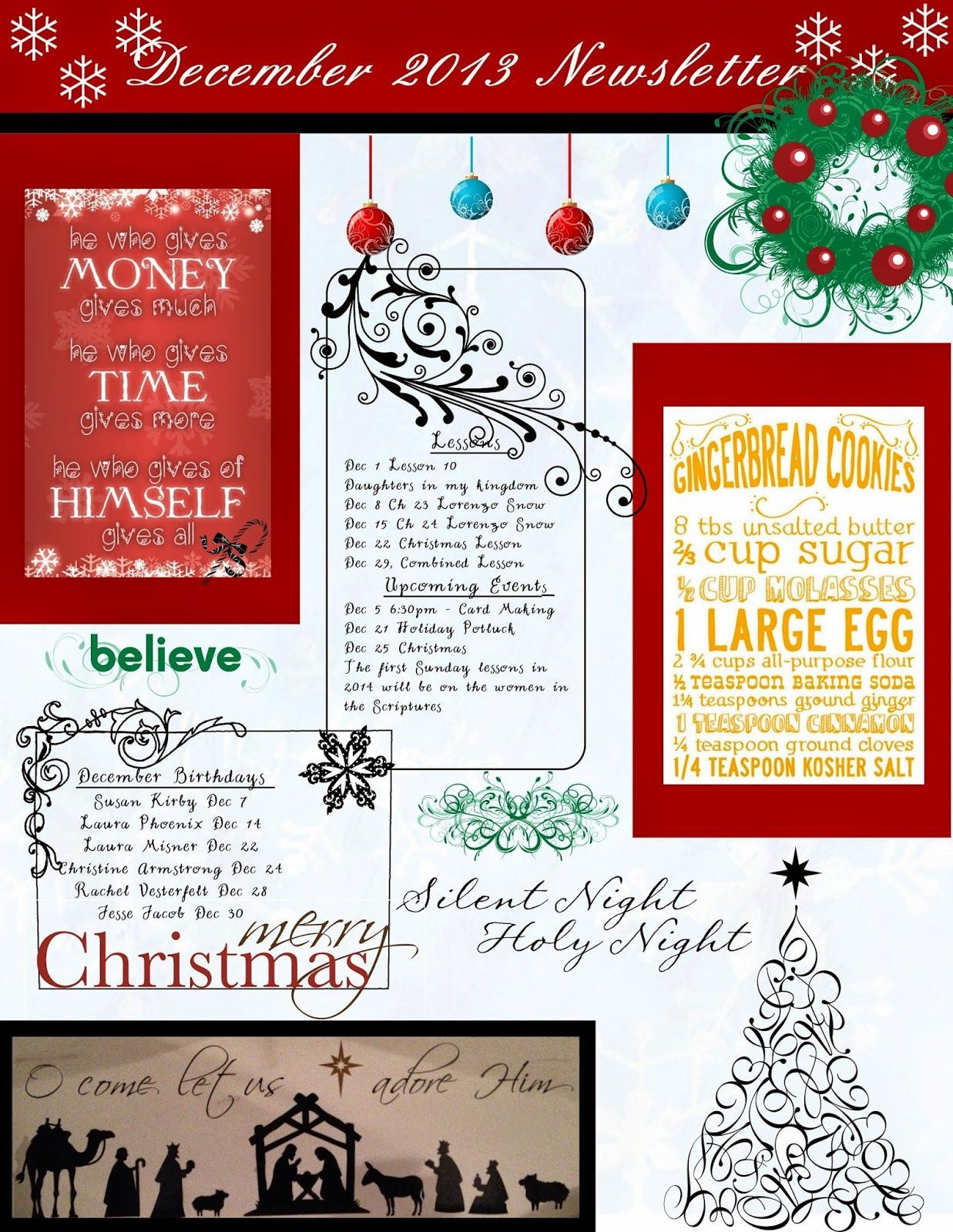 December Relief Society Newsletter My Creations