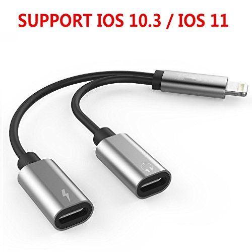 Adaptateur iPhone 7 iPhone 7 Splitter 2 en 1 adaptateur de Lightning double Lightning casque audio & Charge appels et convertisseur pour iPhone 7/7 Plus compatible pour iOS 10.3 (Silver)