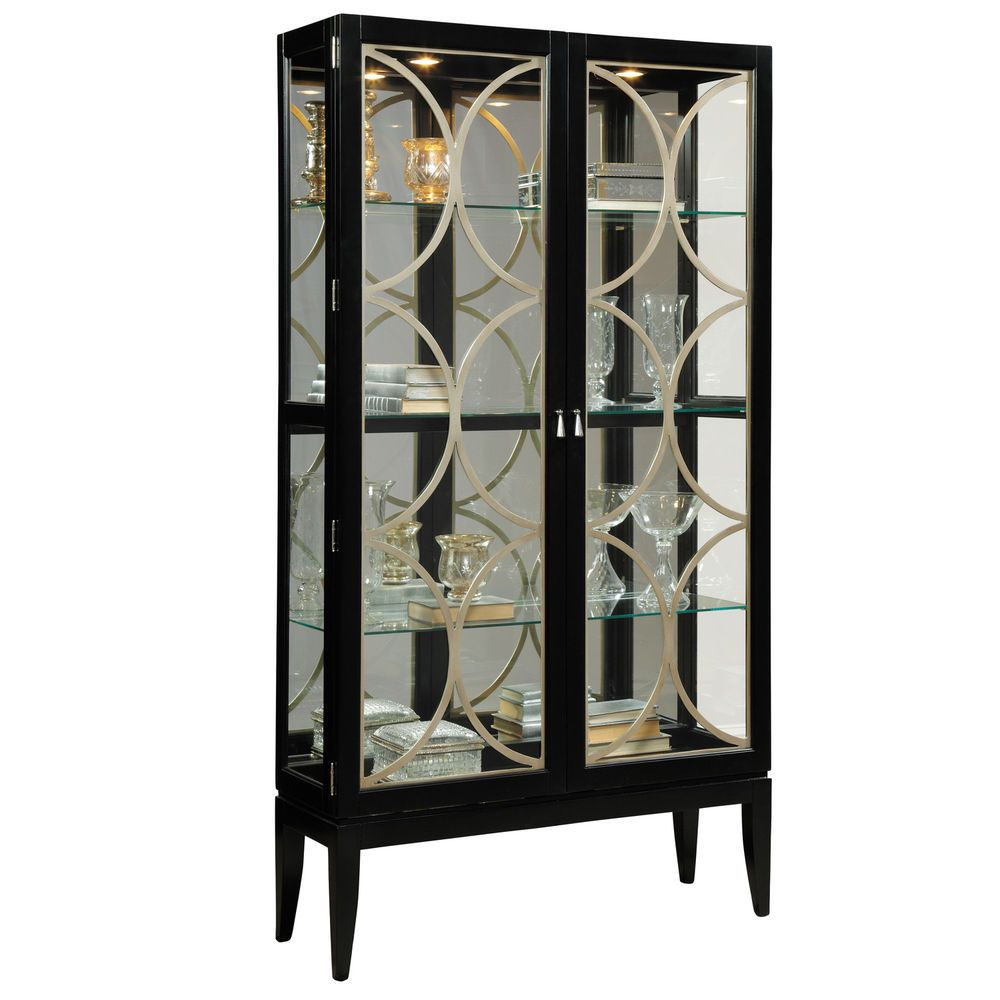 Mirrored Glass Curio Cabinet Tall 2 Door Lighted Display Case For  Collectibles | EBay