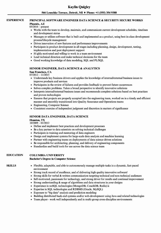 Data science resume example unique engineer data science