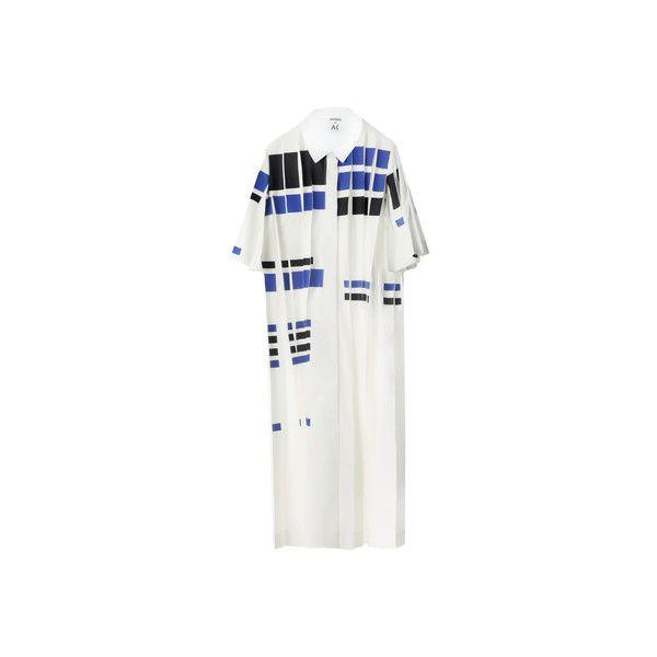 Materiel by Atelier Kikala - White & Blue Dress - Dresses ($330) ❤ liked on Polyvore featuring dresses, blue cotton dress, cotton dress, white collar dress, cotton print dress and blue pattern dress