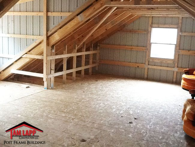 Residential Pole Building in Woodbine New Jersey. Pitch Attic Trusses, Painted 29 GA. Steel, 40 Year Metal Roof and Sides with Trim Package,