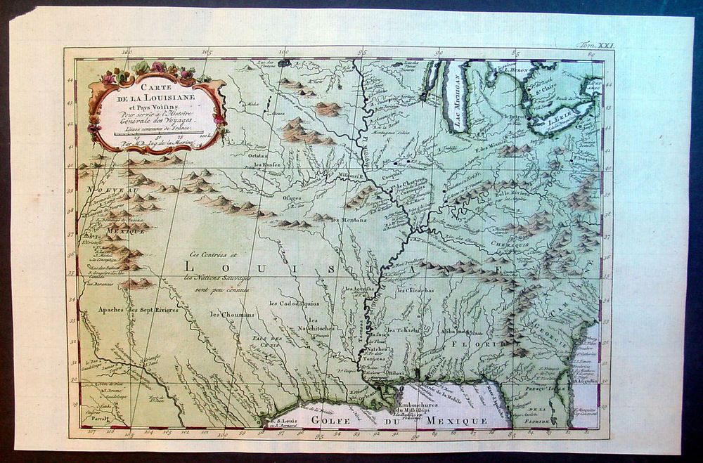 1757 Bellin Antique Map Louisiana Great Lakes