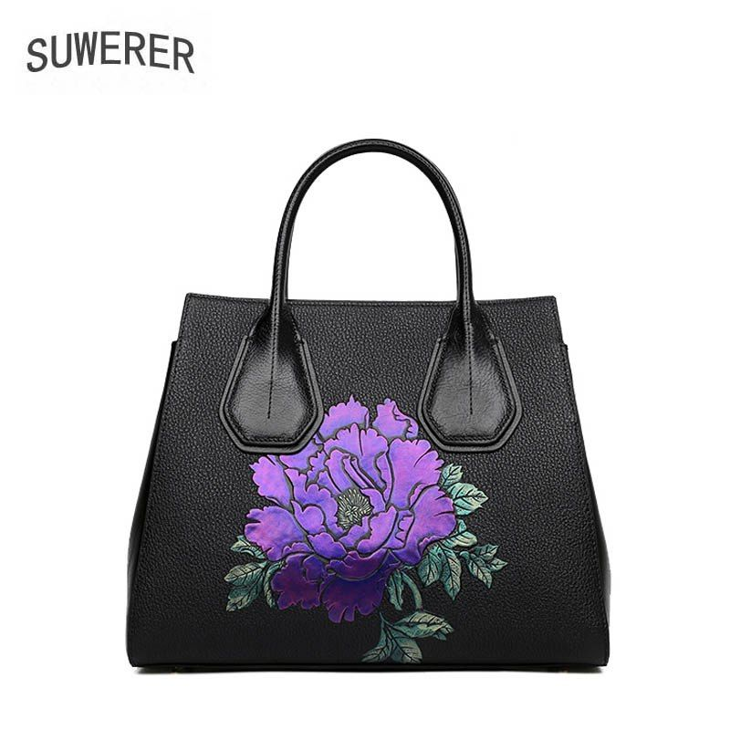 2019 Women Genuine Leather bags fashion luxury handbags women bags designer  embossing big tote women leather b0052c258331