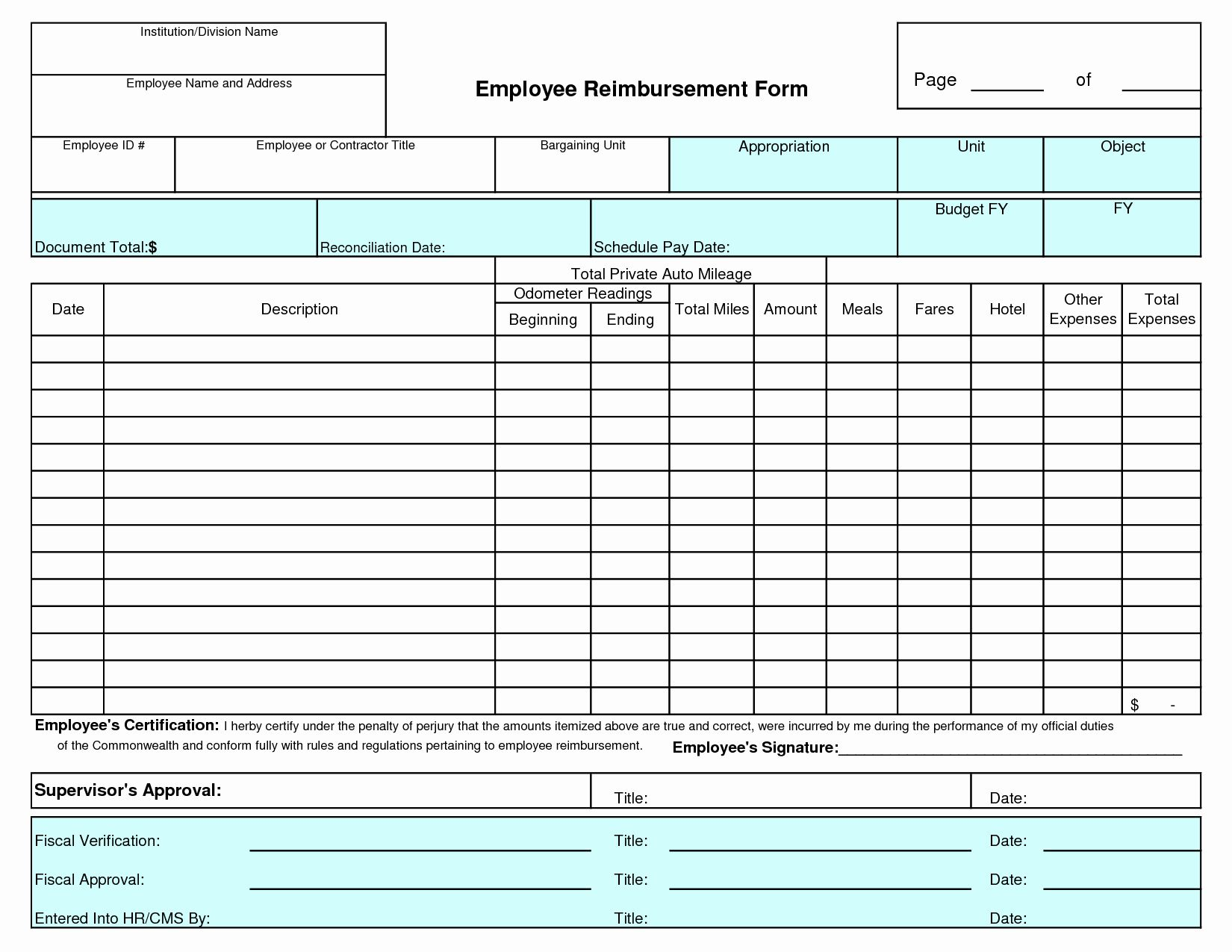 Expense Reimbursement Form Template In With Images