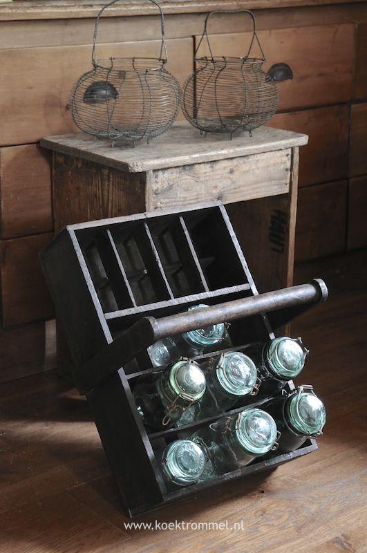 Conserveerpotten in houten bak franse items pinterest decoratie en keuken - Oude keuken decoratie ...