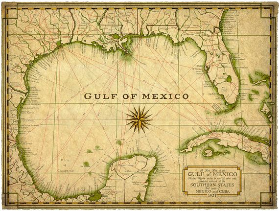 Map Of Southern Florida Gulf Side.Gulf Of Mexico Map Art C 1927 14 X 19 Map Old Maps And Prints