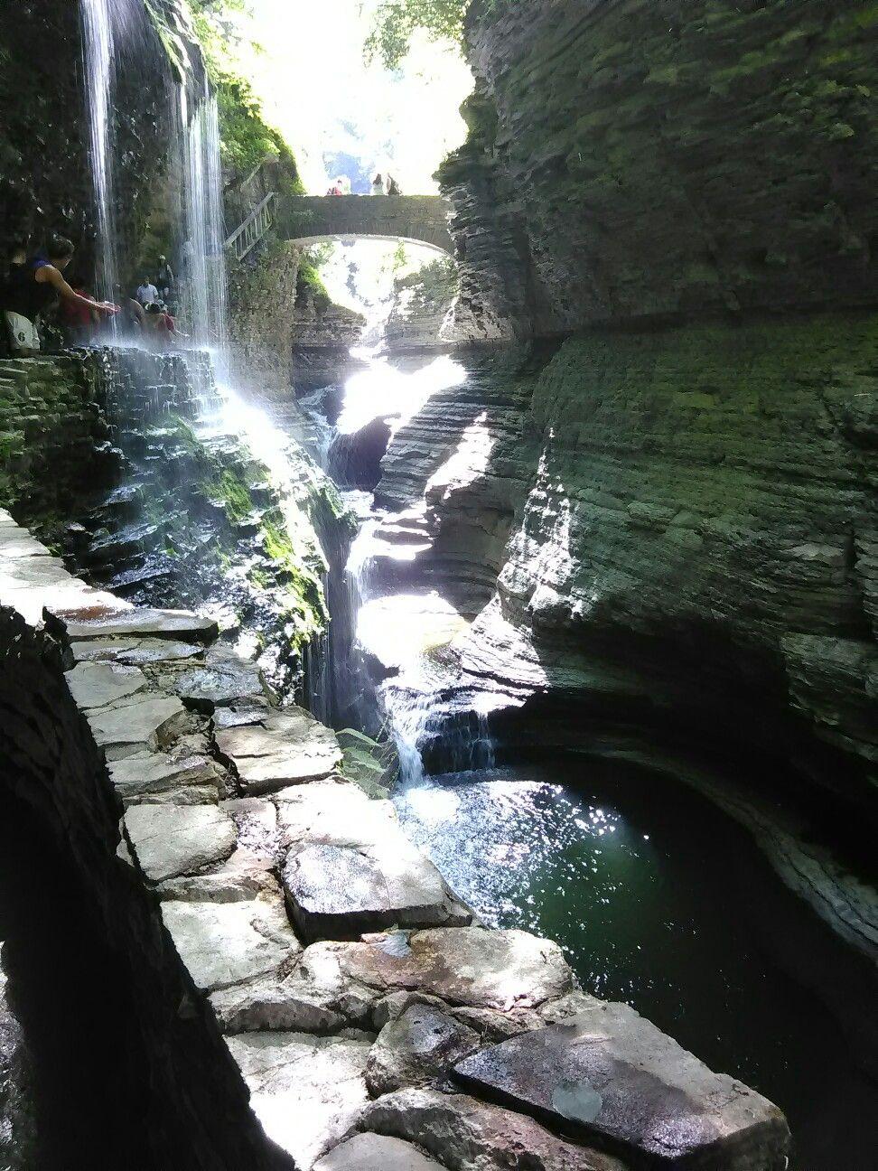 Rainbow waterfall at Watkins Glen State Park, New York 06/18/16