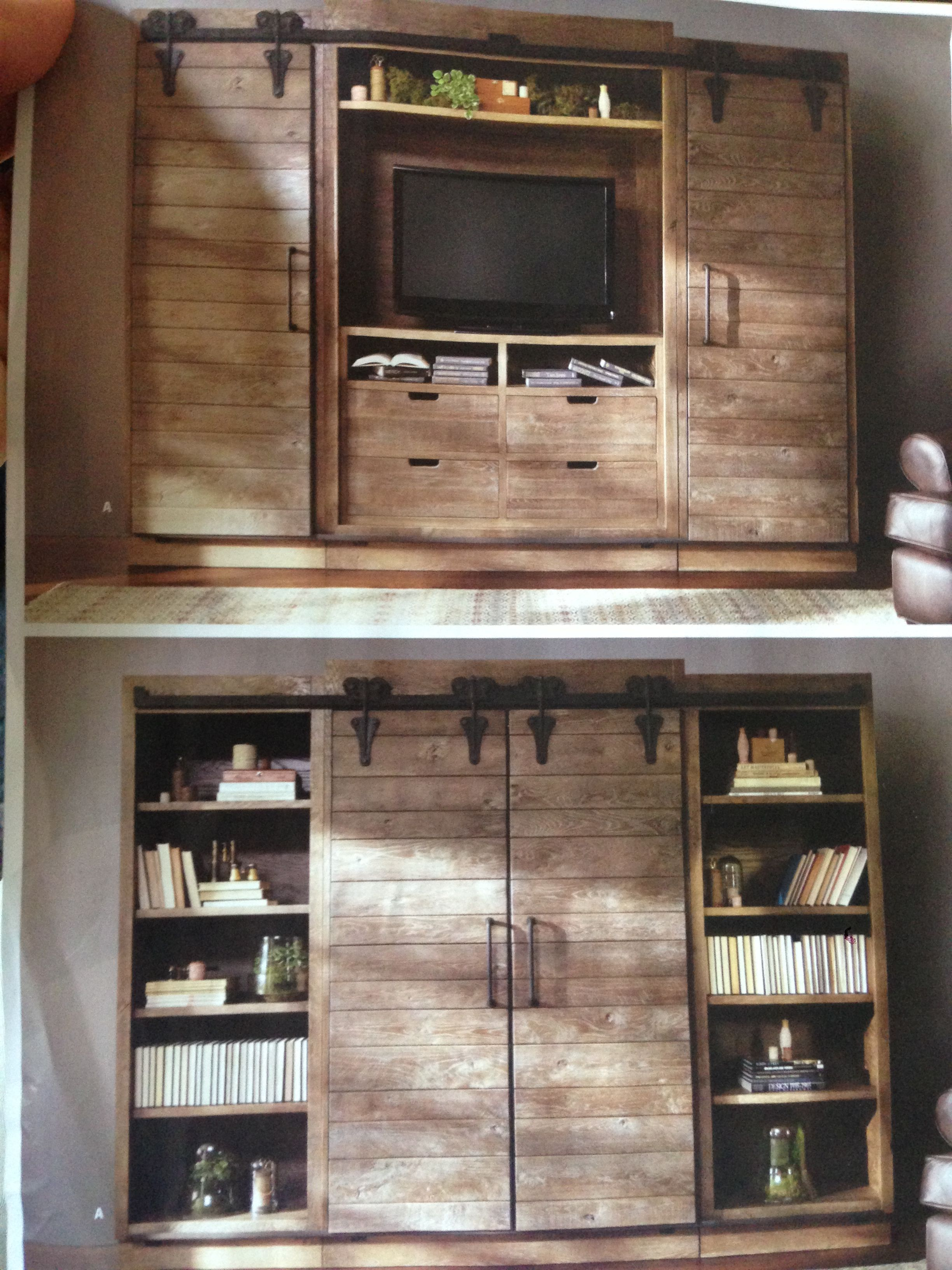 likes entertainment center i like the barn sliding doors ak. Black Bedroom Furniture Sets. Home Design Ideas