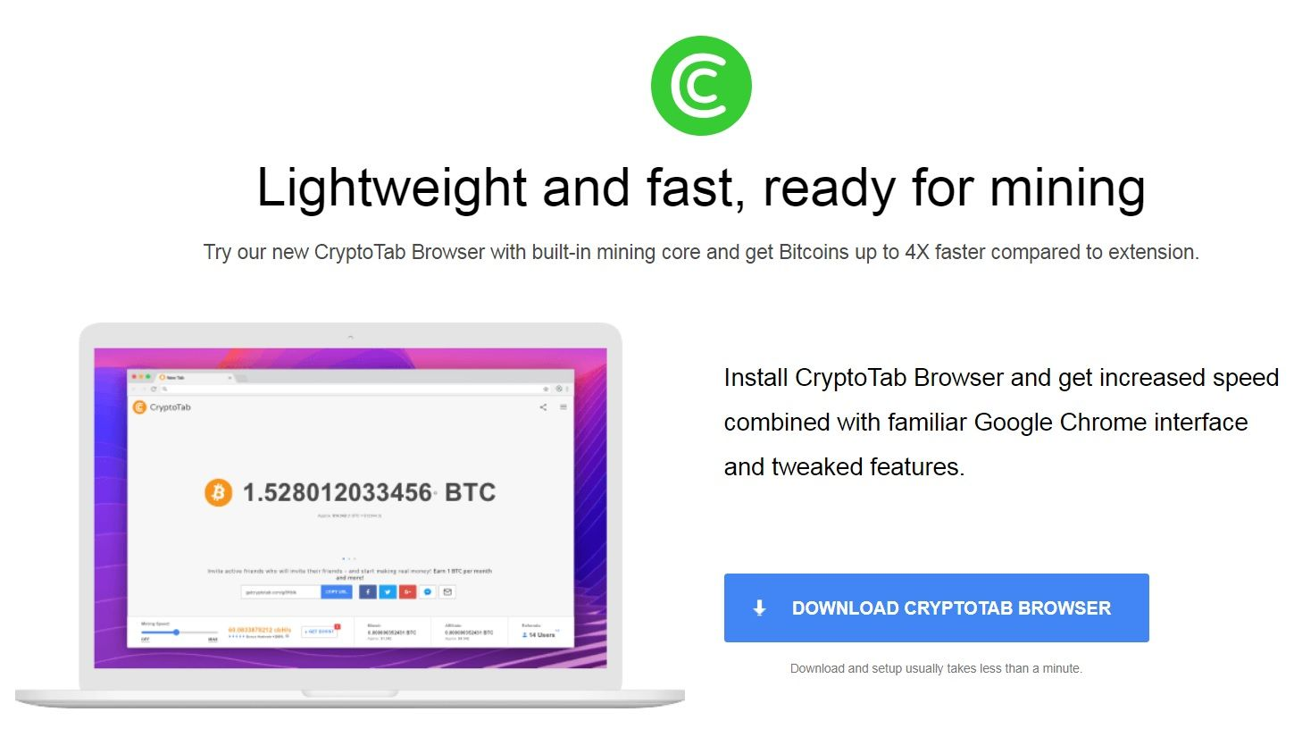 New CryptoTab Browser with built-in mining core and get Bitcoins up