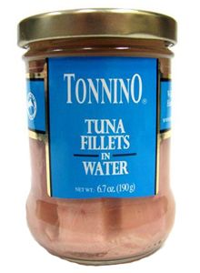 Tonnino Tuna Fillets in Water 6.7 oz. jar. Wild Caught hand packed yellowfin tuna fillets packed in spring water.