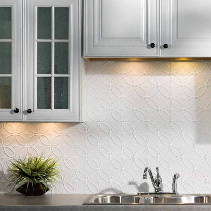 Fasade Backsplash Rings In Matte White Backsplash Panels