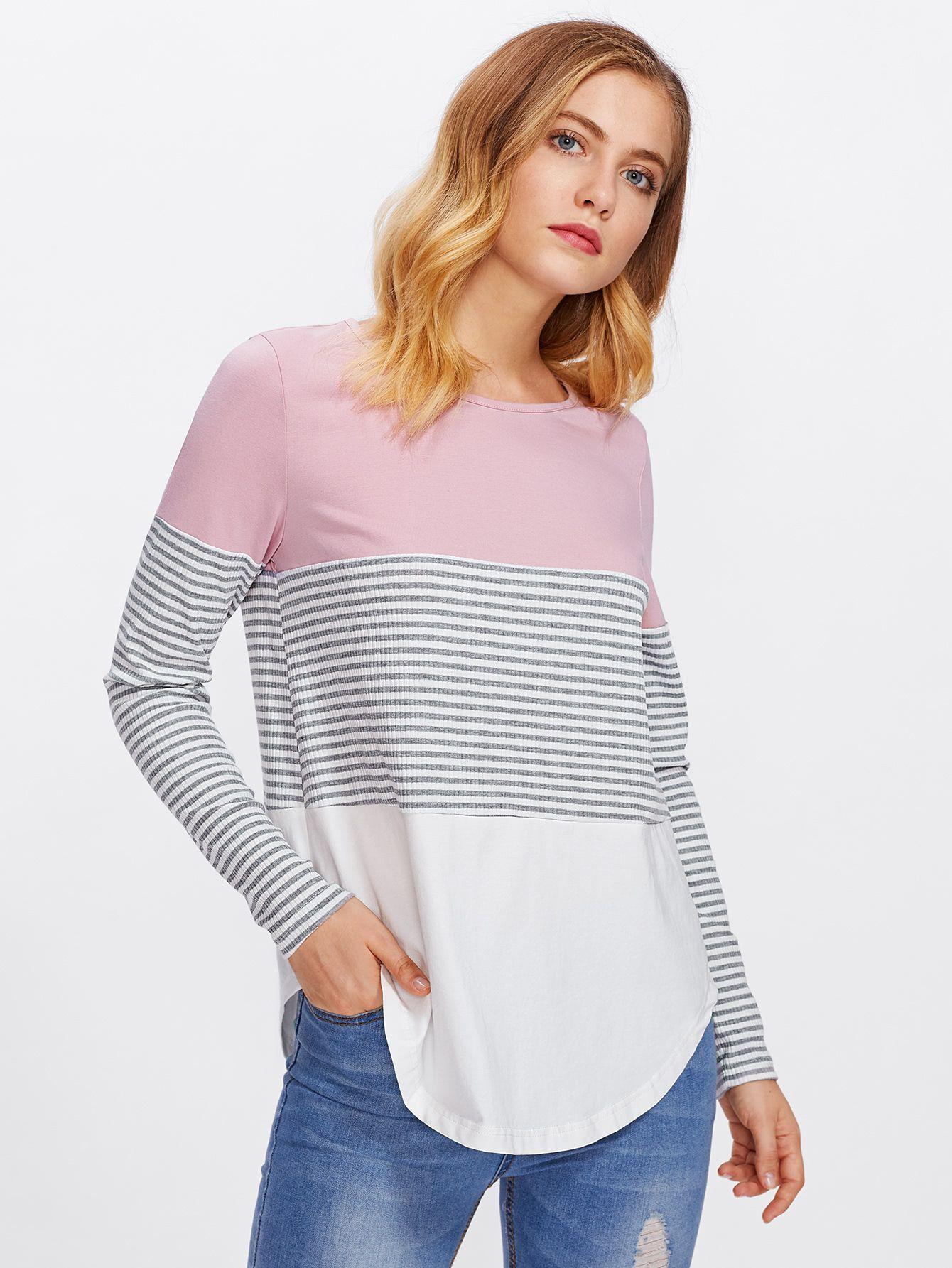 0fa07315b1 Striped Cut And Sew Curved Hem Tee -SheIn(Sheinside)   Things to ...