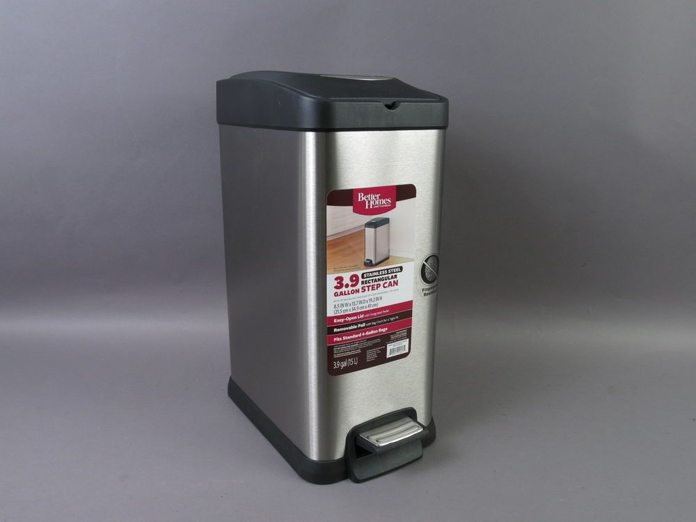 Better Homes And Gardens 3 9 Gallon Stainless Steel Step Trash Can
