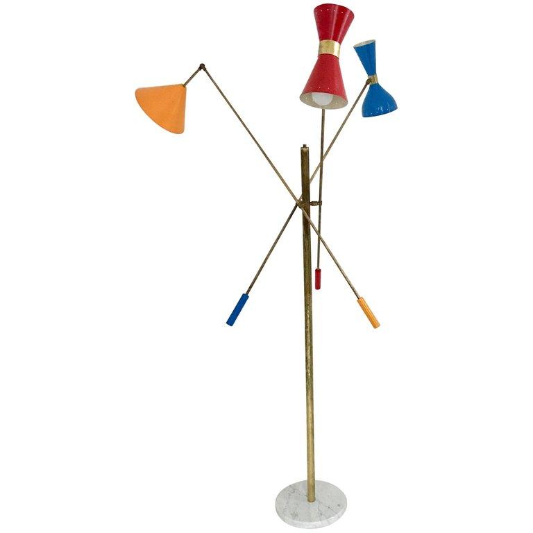 Italian Three Arm Floor Lamp Triennale Arredoluce Style Floor