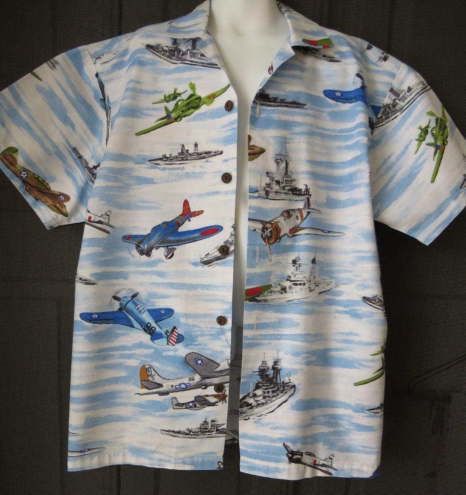 66af1e7a Vintage Boys Medium Hawaiian Aloha Shirt by Hilo Hattie Military Aircraft  Planes #HIloHattie #Everyday