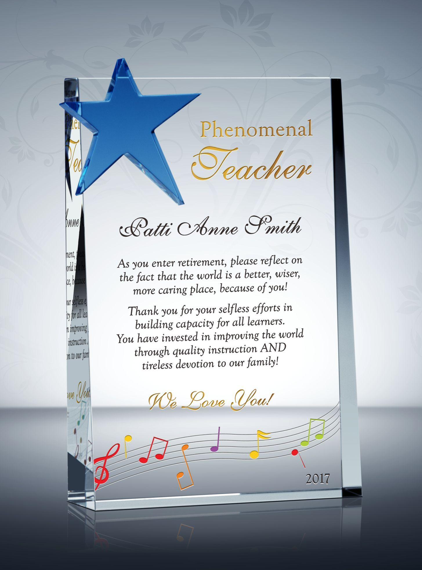 Appreciation plaque for music teachers teacher