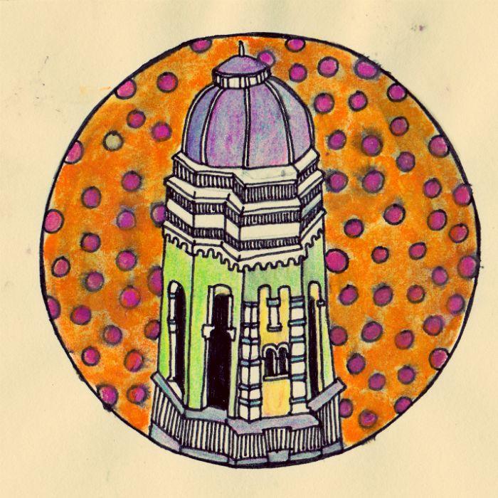 Torentje, schets van potlood en inkt.