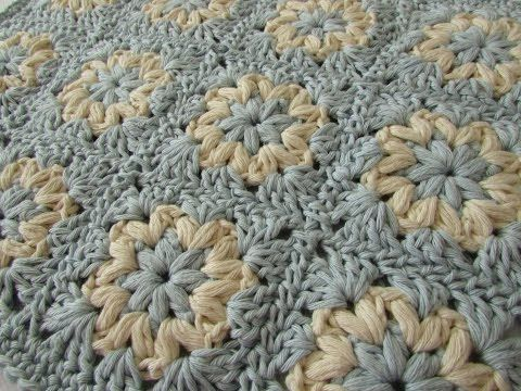 How to crochet a puff stitch granny square blanket / afghan ...
