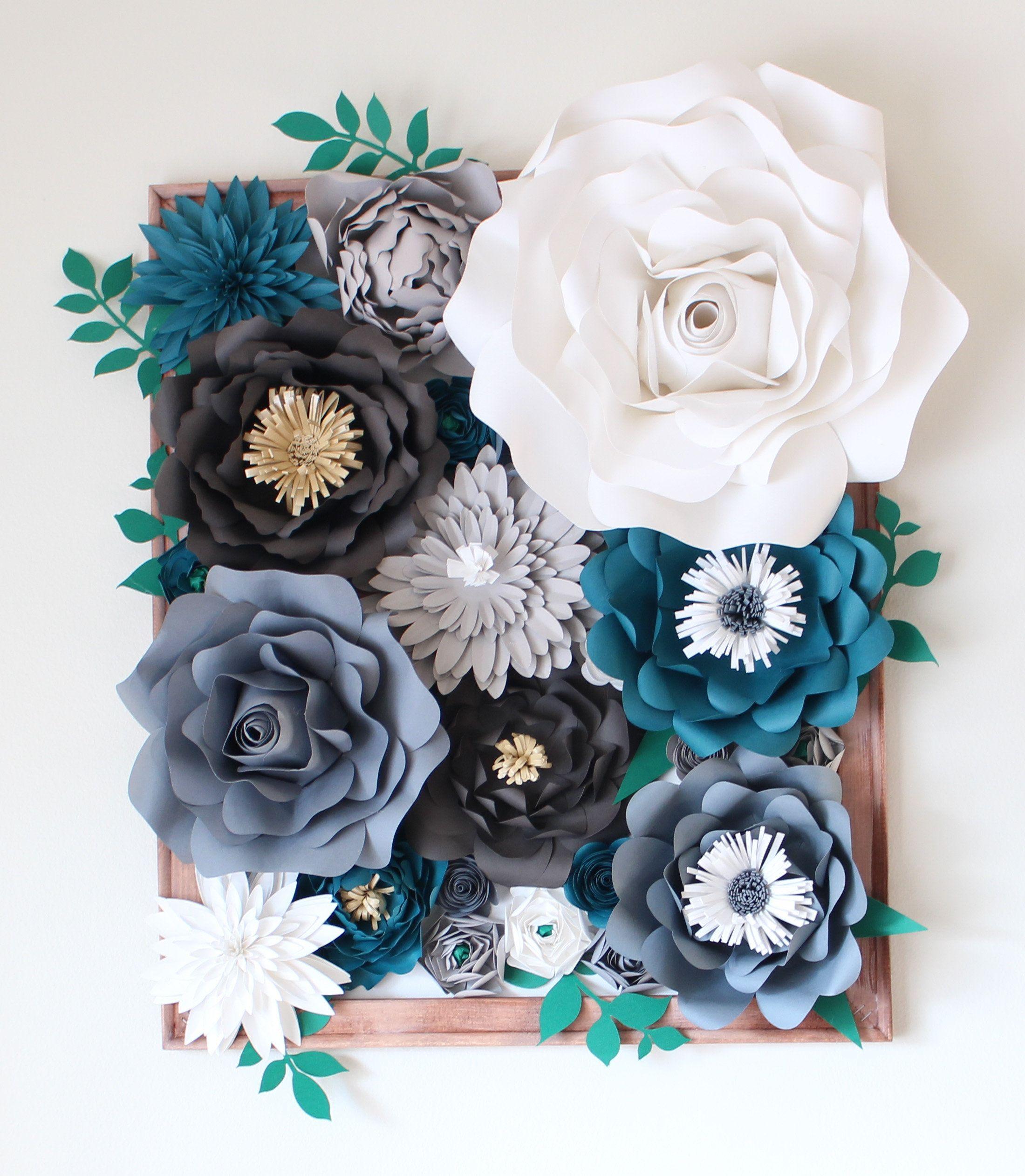 Handmade Paper Flower Canvas Wall Decor  paper flowers  Pinterest