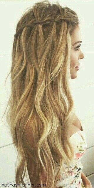 Hair How To Do A Waterfall Braid Hairstyle Braided Prom Hair Waterfall Braid Hairstyle Long Hair Styles
