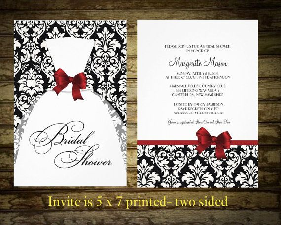 damask bridal shower invitation black and white damask with red border and bow damask any color digital file on etsy 3500