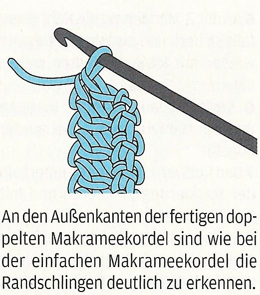 Double makramee-häkelkordel (double wide Romanian Point Lace crochet cord) from Lena magazine, September 2011