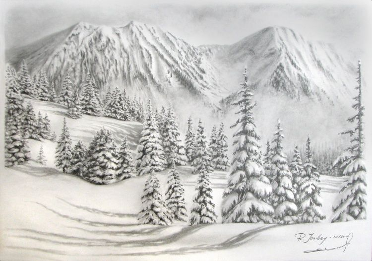 mountain snow drawing 42x30 cm 1692012 by rauf janibekov