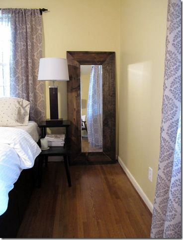 $35 DIY floor mirror: Walmart door mirror, wood, stain, mirror clips ...