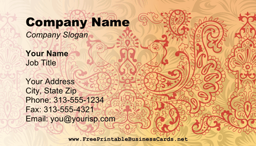 Perfect For Henna Artists This Artistic Business Card Has Intricate Mehndi Designs Free To Download And Prin Artist Business Cards Visiting Card Design Cards