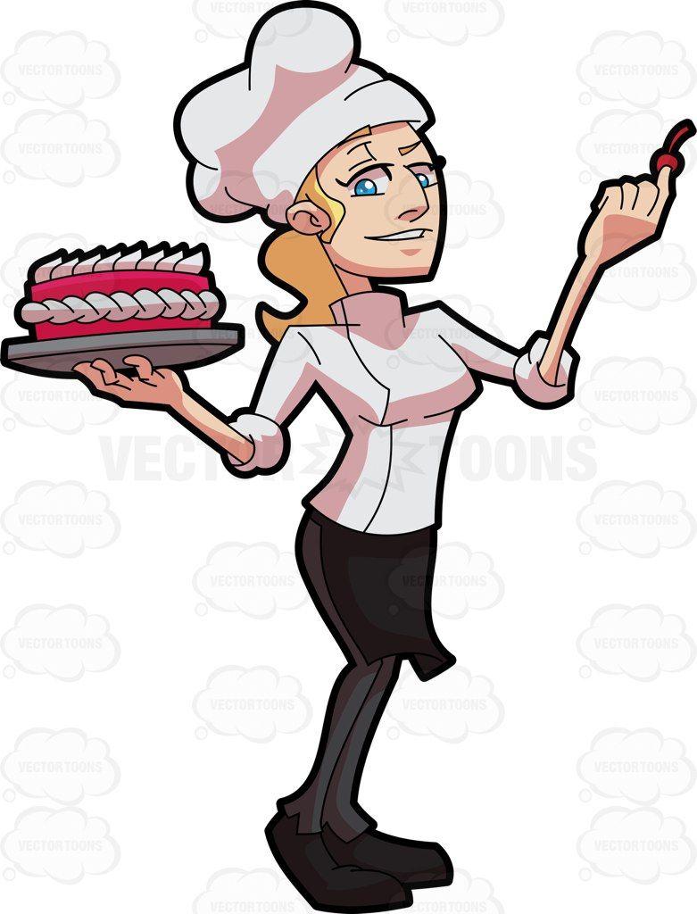 Kitchen chefs clipart clipartfest cartoon restaurant kitchen - A Female Pastry Chef Decorating A Cake Cartoon Clipart