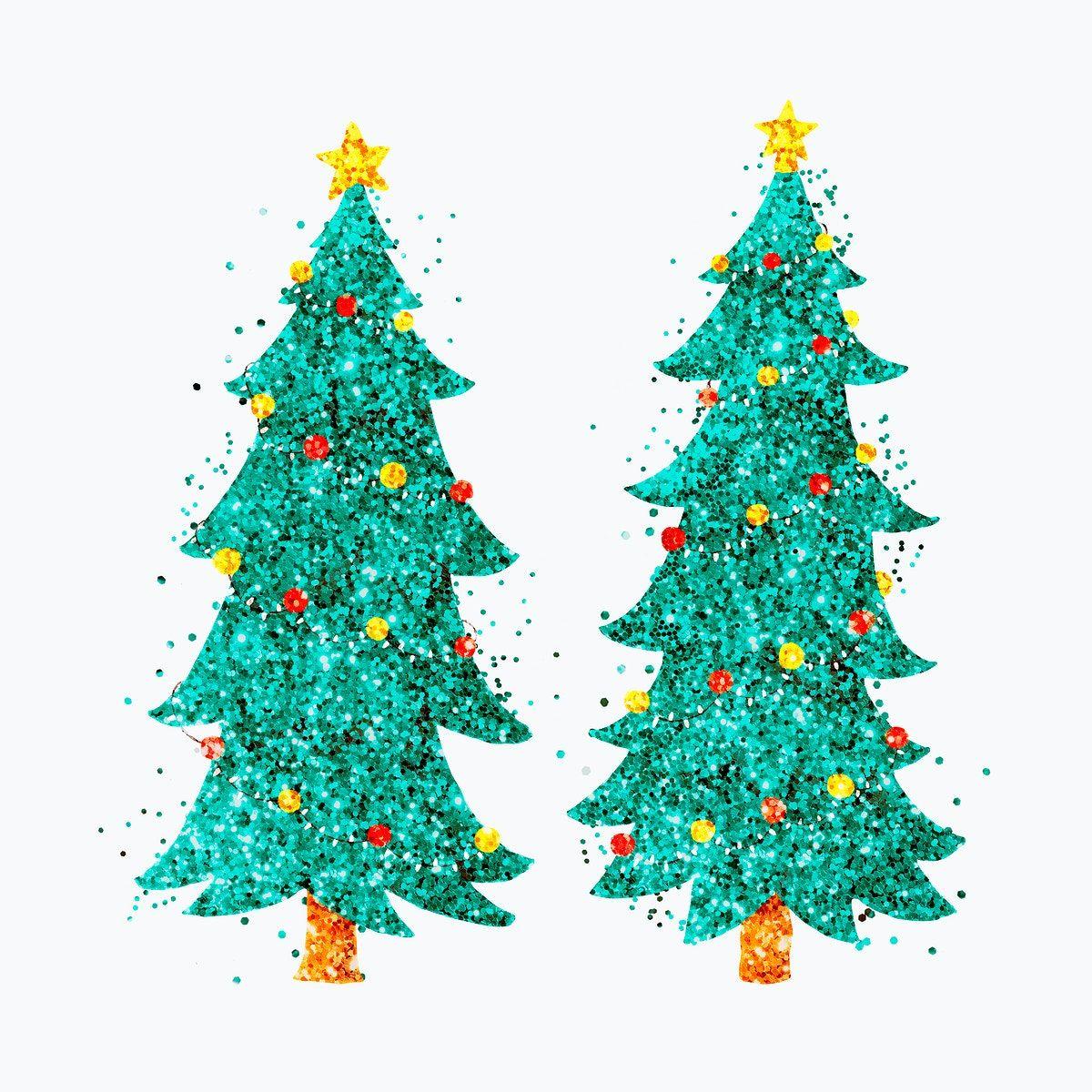 Glitter Green Christmas Tree Psd Hand Drawn Set Free Image By Rawpixel Com Jingpixar In 2020 Green Christmas Tree Green Christmas Drawing Set