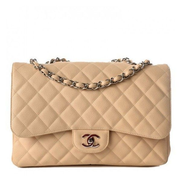 CHANEL Caviar Quilted Jumbo Single Flap Beige Clair ❤ liked on Polyvore featuring bags, handbags, shoulder bags, quilted chain strap shoulder bag, leather shoulder handbags, chanel purses, quilted purse and genuine leather shoulder bag