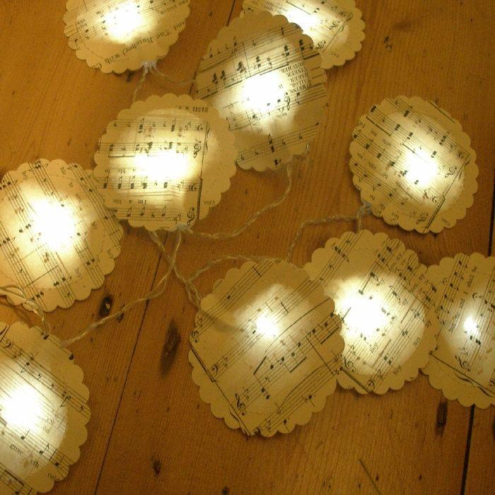 Vintage Sheet Music Fairy Lights. $14.00 via Etsy. #vintagesheetmusic