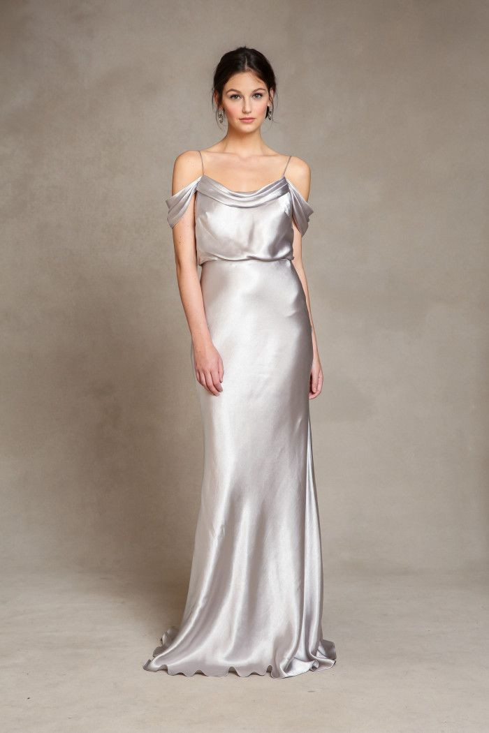 Elegant Satin Silver Bridesmaid Dresses