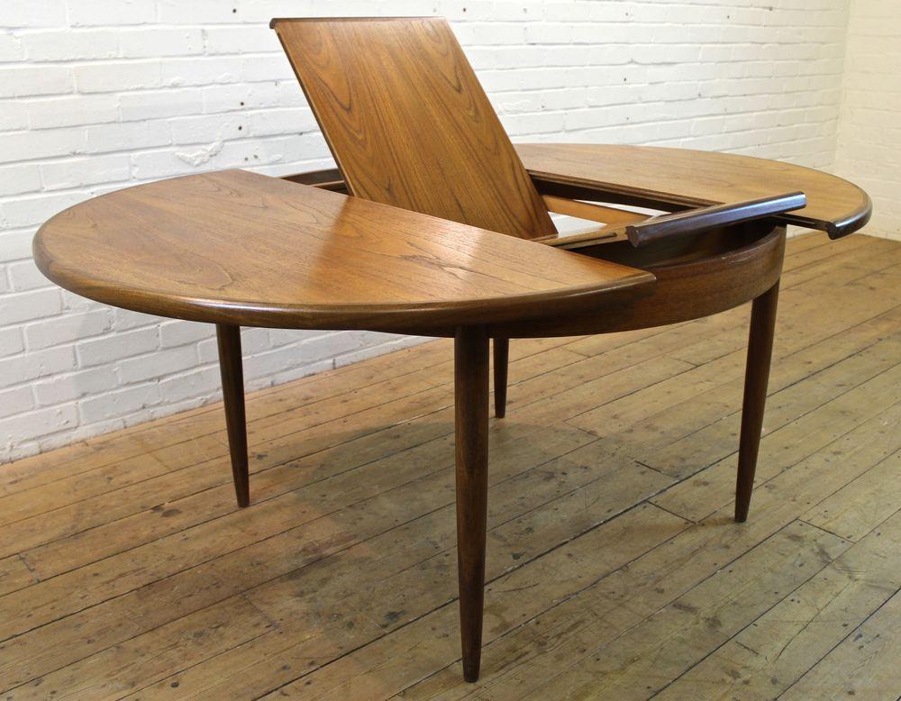 Vintage G Plan Fresco Teak Round Extending To Oval Dining Table