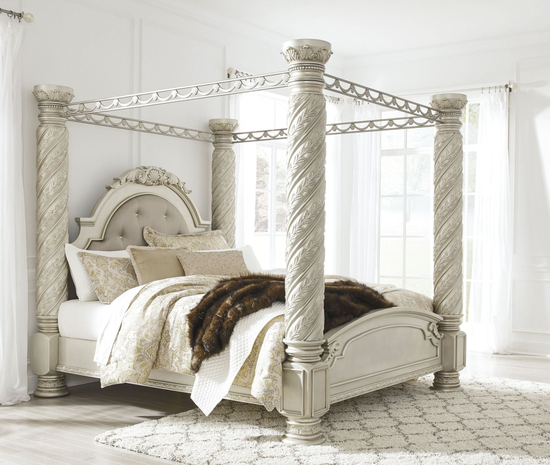 cassimore pearl silver king upholstered poster canopy bed canopy rh pinterest at