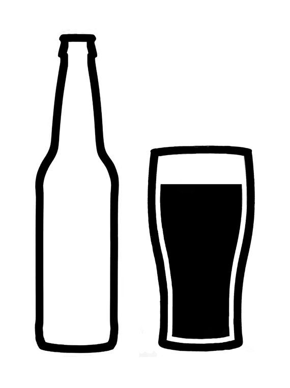 One Line Art Beer : Craft beer bottle and glass vinyl decal by