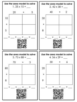 multiplication with area models and partial products qr code task cards ccss teaching ideas. Black Bedroom Furniture Sets. Home Design Ideas