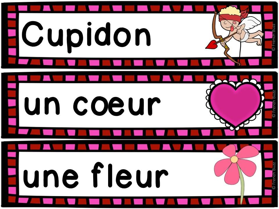 saint valentin vocabulaire gratuit french valentine 39 s day french learning saint valentine. Black Bedroom Furniture Sets. Home Design Ideas