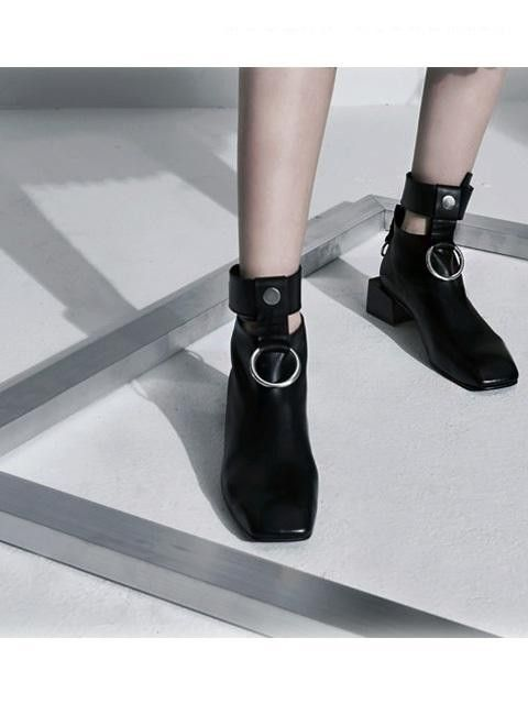 Details about  /Womens Patent Leather Square Toe Med Block Heels Ankle Riding Boots Zip Shoes