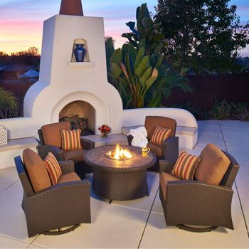 The Santa Fe Motion Chat Set With Fire Table By Mission Hills Lets You  Relax With Friends From Day Into Night.