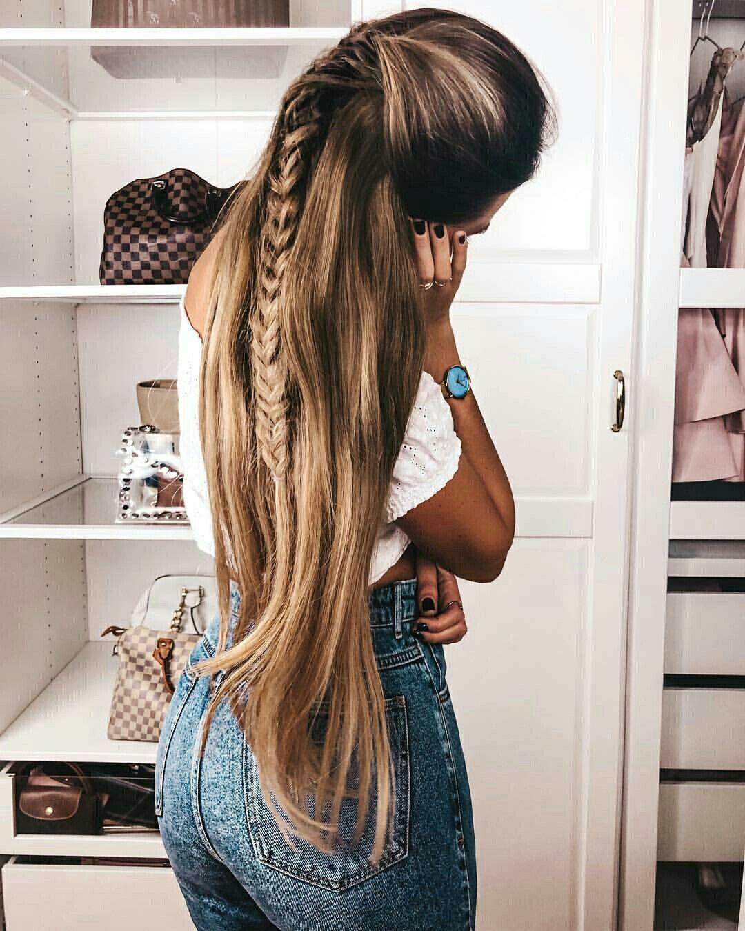 Half Up Half Down Long Hairstyle Long Hair Goals Long Hair Inspo Hairstyles For Long Hair Long Hair Styles Hair Styles Long Hair Tips