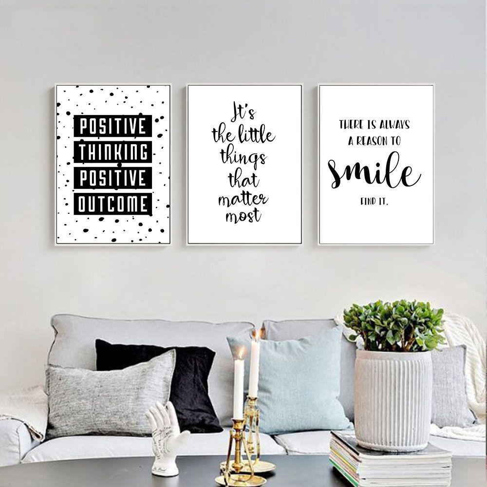 Inspirational quote wall art canvas posters black white prints modern home decor