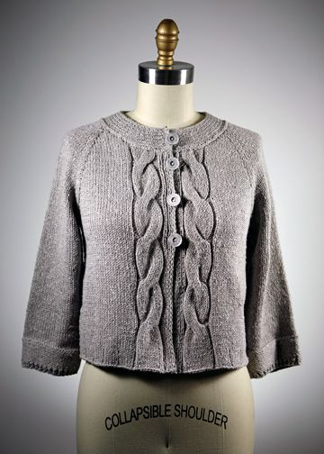 Top Down Cardigan Knitting Pattern - Modern Cabled Sweater ...
