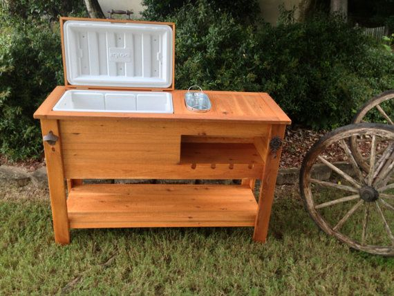 Outdoor rustic wooden cooler bar serving or console table Picnic table with cooler plans