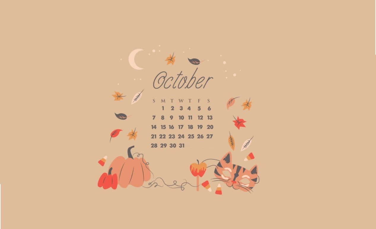 Pin By Maca On Dress Your Tech Desktop Calendar Wallpaper Calendar Wallpaper October Calendar Wallpaper Halloween Desktop Wallpaper