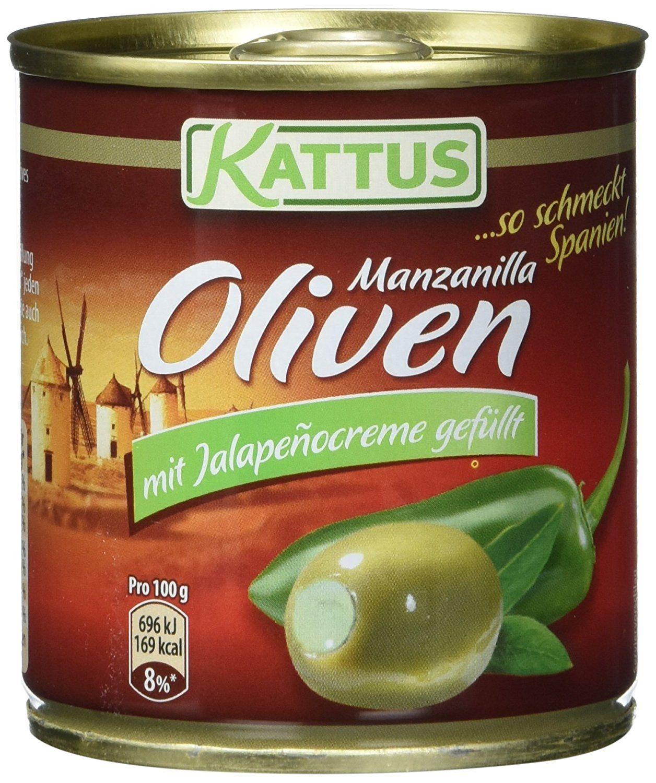 Kattus Spanische grüne Oliven, mit Jalapeñocreme gefüllt, 8er Pack ...