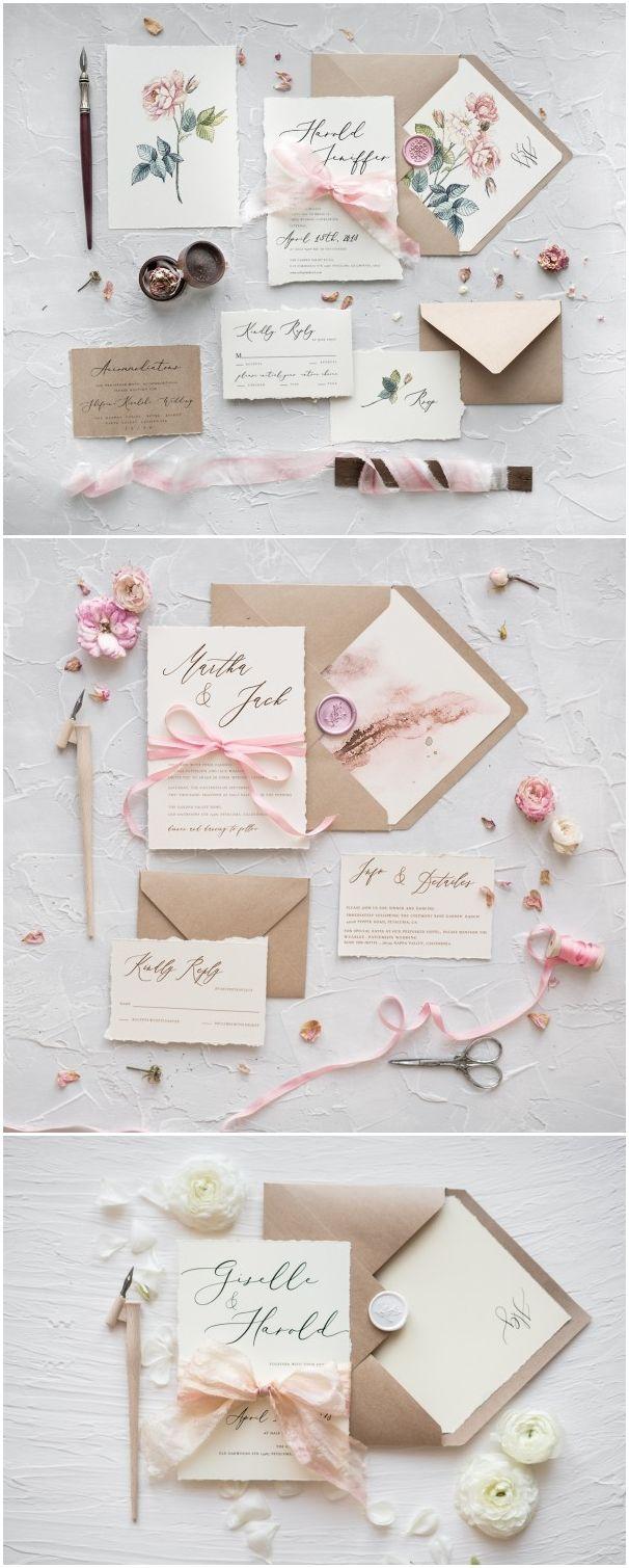 Rustic kraft paper calligraphy wedding invitations | Wedding ...